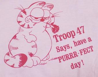 Vintage 80s Springdale Troop 47 says Have a Purrr-Fect Day Pink Garfield T-Shirt