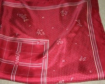 """Vintage Designer Scarf in Soft Red All Silk - Small Dots, Floral, Squares 30x30"""""""