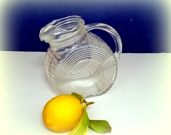 40s Tilt Disc Pitcher - Glass Ribbed Glass Pitcher - Darling Petite Size -