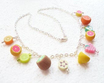 Fruit Salad Necklace. Polymer clay.