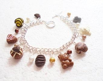 Belgian Chocolate Charm Bracelet . Polymer clay.
