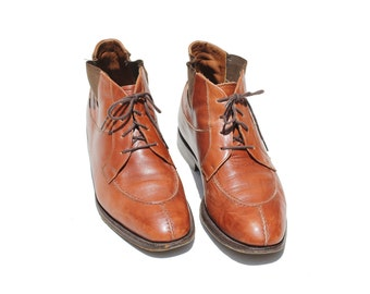 Vintage Italian Men's Brown Leather Ankle Boots /  size 8