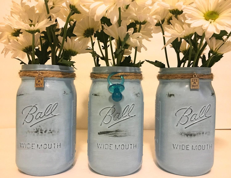 it 39 s a boy baby shower mason jars set of 3 blue mason