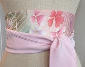 Antique Kimono silk obi sash, Japanese obi belt sash, pink paisley silk sash belt, reversible obi belt, waist cincher sash