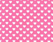 Michael Miller fabric for quilt or craft Hearts All Over in Raspberry Half Yard