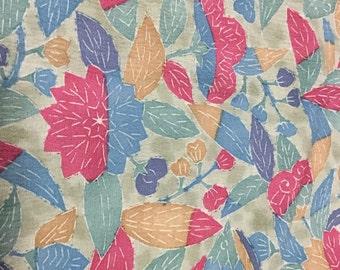 Denim floral in Japanese kimono silk.