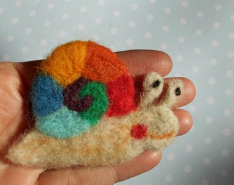 Snail Brooch ,Needle Felted Snail,Rainbow Snail,Waldorf,Animal Pin,whimsical
