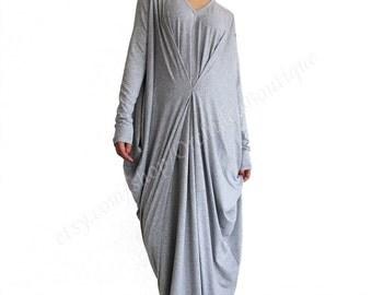 SUNDAY FALL draped maxi dress v-neck kaftan tunic oversized plus size extravagant winter fall women