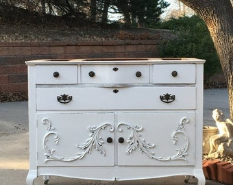 ON SALE Bathroom Vanity Will Custom Convert TO Order From Antique Dresser Painted Dresser Shabby Chic Dresser