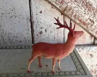 Vintage reindeer deer bakelite celluloid white deer, Christmas ornament, decoration Holiday