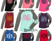SALE!! Preppy Patch monogram long sleeve Tee- Vine monogram- elbow patch- long sleeve circle monogram- mint- preppy tee- patch shirt