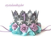 Mermaid Birthday Crown, Silver, Lavender and Mint Floral Crown, Birthday Crown, Starfish Crown, Birthday Hat, First Birthday Crown