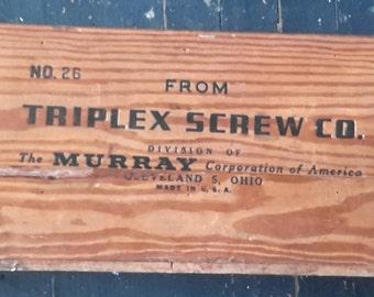 Vintage Triplex Screw Co. Wood Crate