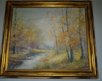 "Vintage Oil on canvas ""October"" Fall Landscape Wooded Creek Gilded Antique frame Helen Kenworthy 25""x 29"""