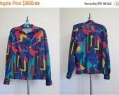 Ted Lapidus / Color Block Blouse / Colorful Top / 80s Blouse / Tribal Top / Jewel Tones Blouse / Designer Top / Aztec Shirt /