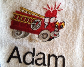 beach towel, bath towel, kids towels, personalized, tractor, backhoe, cement truck,fire truck, monogrammed towels, pool party gift, vacation