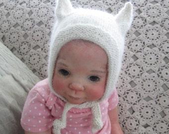 Baby Kitten Bonnet Hat Hand Knit  Newborn 0 to 6M Angora Wool