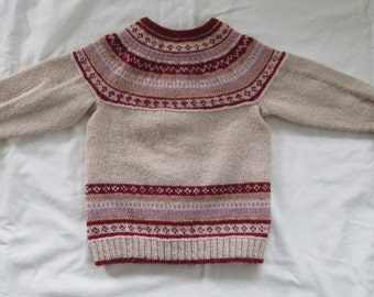 Toddler Sweater Fairisle Hand Knit Boy Girl 2T Fair Isle Cardigan Highland Wool