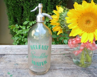 Vintage Seltzer Bottle Belfast San Francisco Great Graphics Rustic Retro Industrial Siphon Bottle