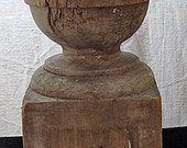 Vintage Wood Finial with a Cannon Ball Atop a Square Wood Base