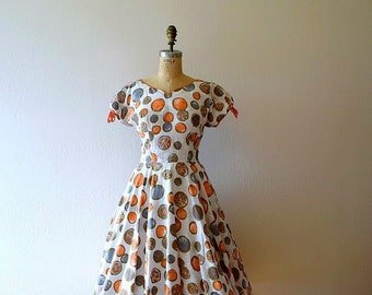 1950s vintage dress . 50s polka dot dress . small