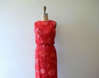 50% SALE . Wool floral print dress . 50s 60s vintage dress