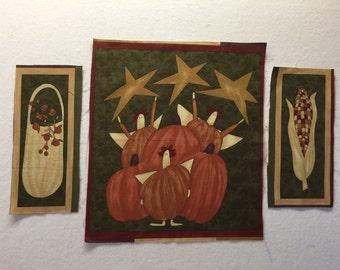 Moda Fall Frolic Pumpkin Fabric Panel by Sandy Gervais - Vintage