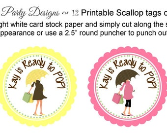 ready to pop cupcake toppers/ready to pop/she's about to pop tags/about to pop toppers/about to pop party circles/cupcake toppers