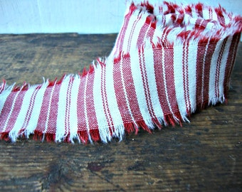 Vintage Dark Red Ticking Hand Frayed Fabric Ribbon Trim