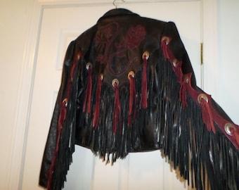 Vintage Gypsy Soul Leather Coat Jacket Motorcycle Black Small Boho Bohemian Hippie  USA M Rare Hippie Hip Rock Star Rose Conchos Suede  Rad