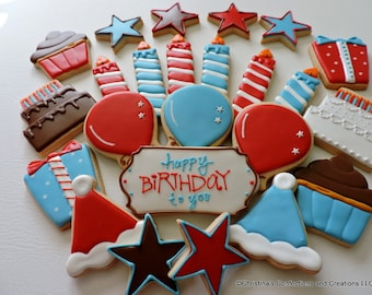 Birthday Party Platter Hand Decorated Sugar cookies for Birthdays (#2478)