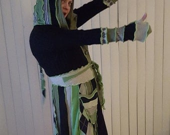 Medium to large hooded elf coat of upcycled sweaters in Slytherin colors ready to ship