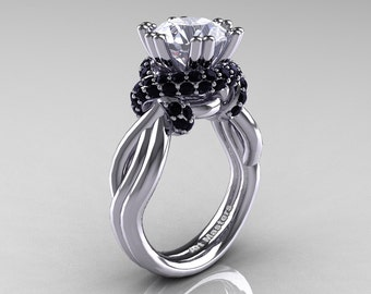 Classic 14K White Gold 3.0 Ct White Sapphire Black Diamond Knot Engagement Ring R390-14KWGBDWS