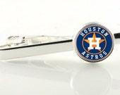 Houston Astros tie slide, tie clip, tie bar. MLB gift, gift for Astros fan,  stocking stuffer, groomsmen gift, silver tie clip, gold tie bar