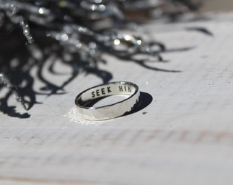 Sterling Silver Secret Message Ring- Posy Ring- Silver Ring- Stacking Rings-  Hand Stamped Ring- Hammered Ring