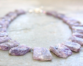 Amethyst necklace, rough cut amethyst necklace, statement necklace, amethyst, purple, sterling silver, bib necklace, artisan made