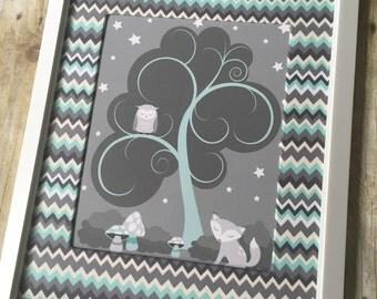 Aqua and Gray Woodland Nursery Print, Gender Neutral Nursery Decor, Fox Nursery Art, Baby Shower Gift - 11x14