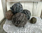 Antique 19th c. Rag Balls in Shades of Gray / Brown - Vintage Cotton Ball Set, Prim Bowl Filler Set, Gray Cotton Rag Balls, Farmhouse Chic