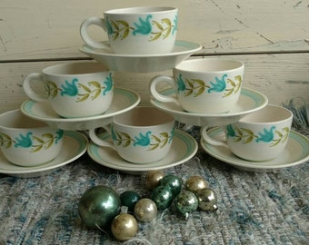 Mid Century Fransiscan Tulip Time Cups + Saucers - Vintage  Party Serving Ware, Holiday Table Ware, Party Plates, Art Pottery Tea/Coffee Cup