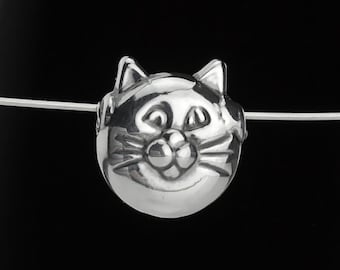 Pair of 15mm Sterling Silver Kitty Head Cat Face Beads Hollow Set of 2