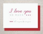 Romantic Valentine's Day Card, I Love You, Anniversary Card