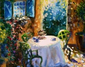 SECRET GARDEN, painting of outside scene. Garden furniture, Blue and green.