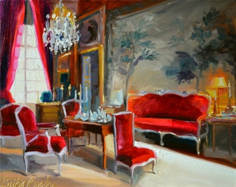 Original painting of CHATEAU DU CHAMPS, French interior, red and grey, beautiful sitting room