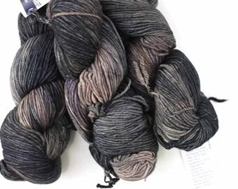 Malabrigo Rios yarn, color Nimbus Gray, gray and taupe, #844, superwash knitting yarn worsted weight