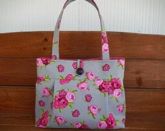 Handbag Purse Fabric Handbag Accessories Women Handbag Large Pleated Bag Shoulder Bag in Light Gray with Pink Rose Print