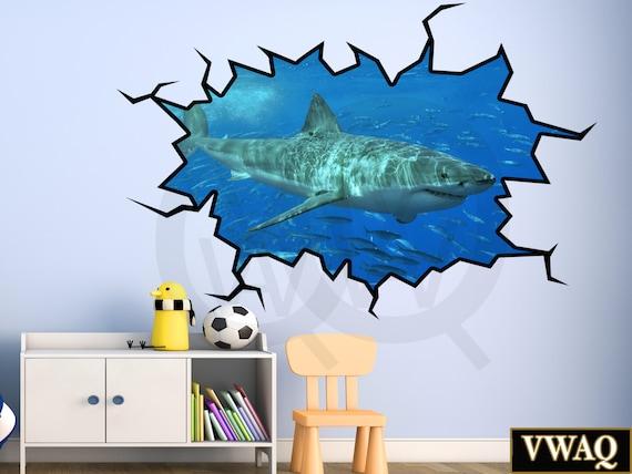 shark wall decals 3d wall decal great white shark wall sticker. Black Bedroom Furniture Sets. Home Design Ideas