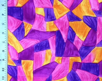Colorplay by RJR Fabrics , Purple / Pink / Orange / Triangles / Geometric Shapes , 100% Cotton / Abstract fabric by the yard