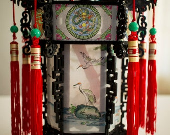Vintage Chinese Lantern with Storks