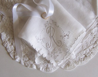 Vintage Wedding Hanky Monogrammed R in White and Silver with Floral Embroidery, Something Old Bride's Handkerchief, Shower Gift