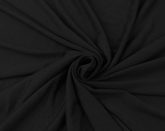 Cotton Lycra Spandex Knit Jersey Fabric 12 oz Heavy by the yard - Black (349)